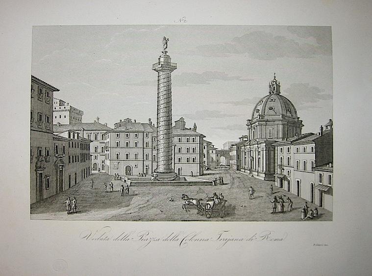 Giarré P. Veduta della Piazza della Colonna Trajana di Roma 1845 Firenze