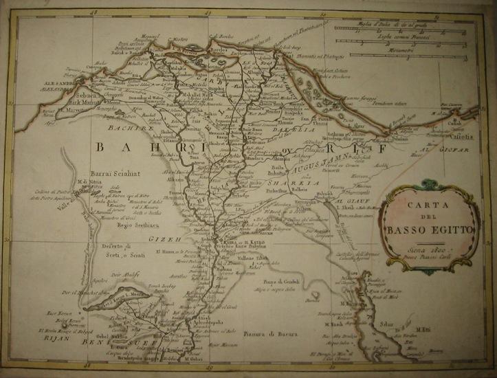 Pazzini Carli Vincenzo Carta del basso Egitto 1800 Siena