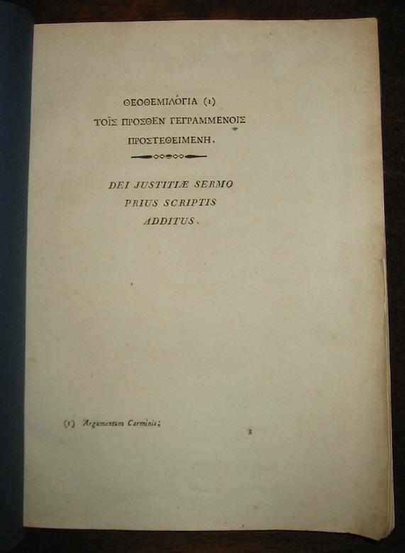 Antonio Di Paolo Theothemilogia... Dei justitiae sermo prius scriptis additus 1816 s.l. (Napoli) presso Vincenzo Orsino