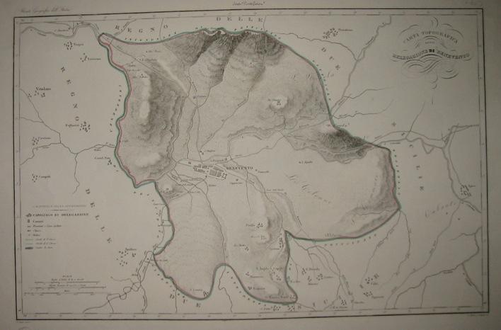 Zuccagni-Orlandini Attilio (1784-1872) Carta topografica della Delegazione di Benevento 1844 Firenze