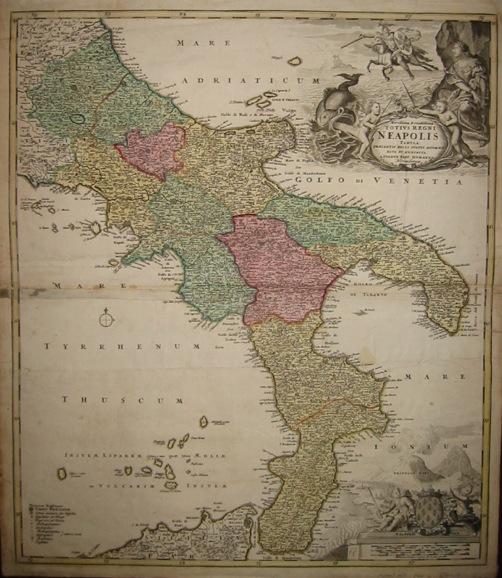 Homann Johann Baptist (1664-1724) Novissima & exactissima totius Regni Neapolis tabula... 1720 ca. Norimberga