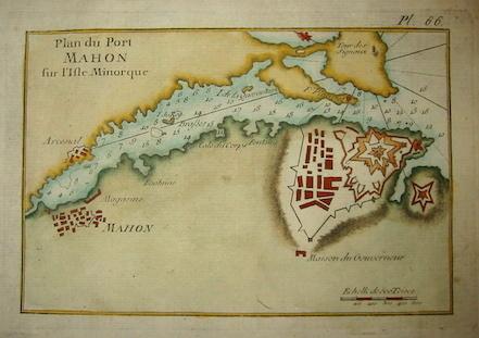 Allezard Jean Joseph - Roux Joseph Plan du Port Mahon sur l'Isle Minorque 1804 Genova