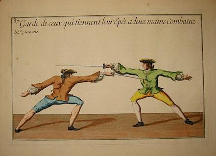 Girard P.J.F. Garde de ceux qui tiennent leur Epée a deux mains combatue 1740 Parigi