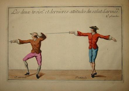 Girard P.J.F. Les deux troisieme et dernieres attitudes du salut d'armes 1740 Parigi