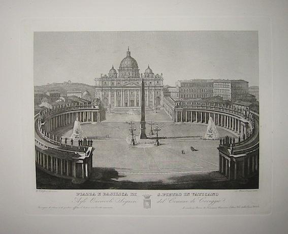 Cottafavi Gaetano (attivo nella prima metà  del XIX Secolo) Piazza e Basilica di S. Pietro in Vaticano 1843 Roma