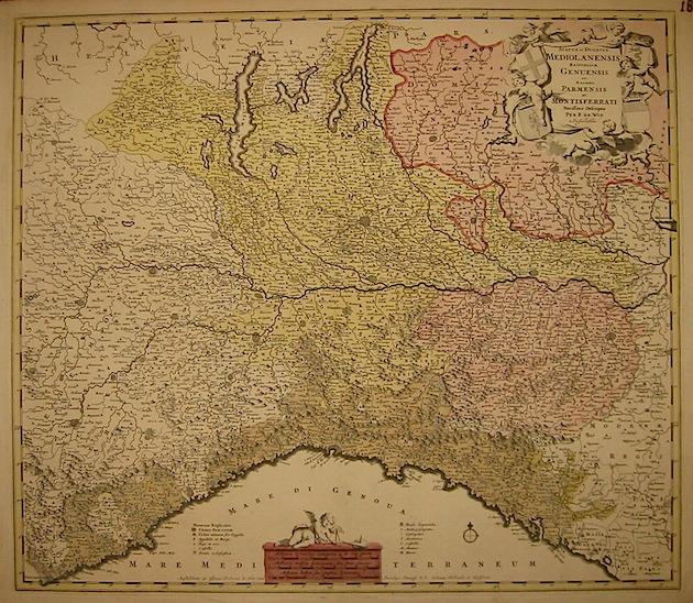 De Wit Frederick (1630-1706) Status et Ducatus Mediolanensis, Reipublicae Genuensis et Ducatus Parmensis et Montisferrati novissima descriptio 1680 ca. Amsterdam