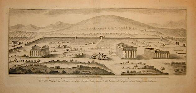 Anonimo Vue des Ruines de l'Ancienne Ville de Paestum, située à 18 Lieves de Naples dans le Golfe de Salerne 1790 ca. Parigi