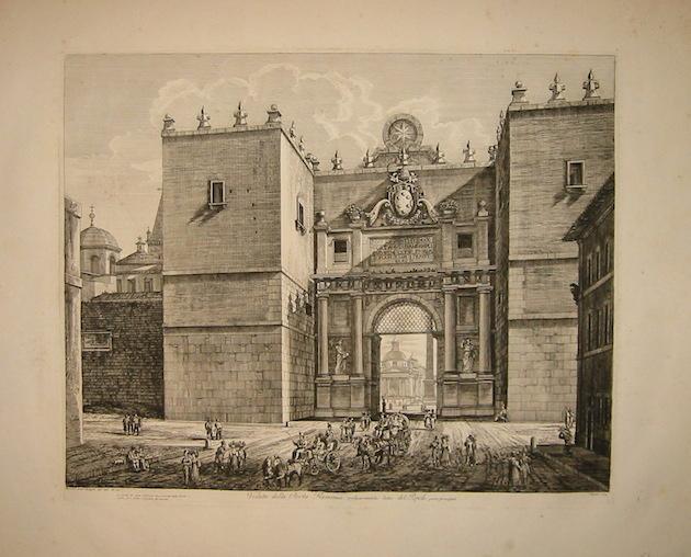 Rossini Luigi (1790-1875) Veduta della Porta Flaminia volgarmente detta del Popolo 1829 Roma
