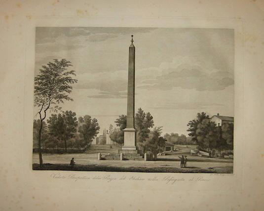 Balzar Giovanni Battista (1777 ca. - 1831) Veduta Prospettica della Piazza del Obelisco nella Passeggiata al Pincio 1829 Roma