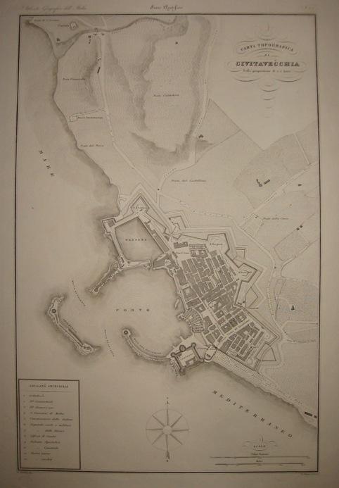 Zuccagni-Orlandini Attilio (1784-1872) Carta topografica di Civitavecchia 1844 Firenze