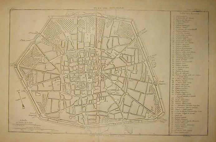 Lalande (de) Joseph Jerome Plan de Bologne 1786 Parigi