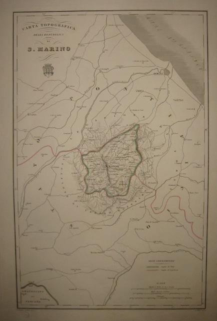 Zuccagni-Orlandini Attilio (1784-1872) Carta topografica della Repubblica di San Marino 1844 Firenze