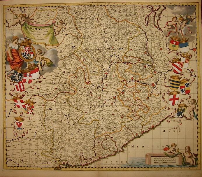 Blaeu Willem Janszoon (1596-1673) - Bergonio Tommaso Pedemontium et reliquae Ditiones Italiae Regiae Celsitudini Sabaudicae subditae, cum Regionibus adjacentibus 1682 Amsterdam