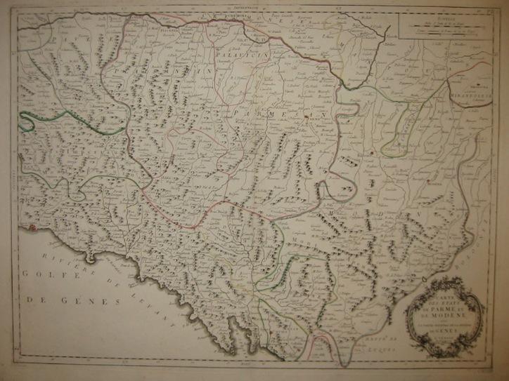 Santini Paolo (1729-1793) Carte des Etats de Parme et de Modene avec la partie oriental de la Rivière de Genes 1779 Venezia, Remondini