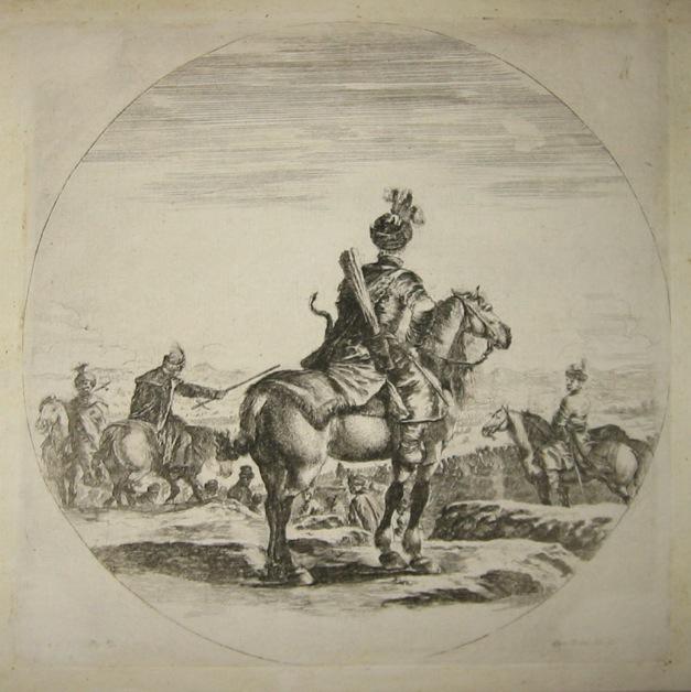 Della Bella Stefano Cavaliere polacco visto di spalle 1650 ca. Firenze